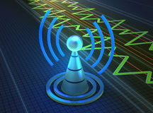 Wireless towe. R with radio waves vector illustration