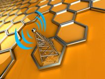 Wireless tower against a 3d background Royalty Free Stock Images