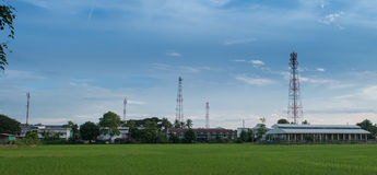 Wireless tower with contryside landscape. Technology with people style countryside attenna tower Stock Images