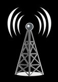 Wireless tower network. An image showing an iron wireless tower network with a transmitting beacon on the top and air waves around it all on a black background Stock Image