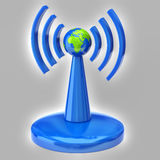Wireless tower with radio waves Royalty Free Stock Photos