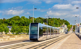 Wireless tram on Pont Wilson Bridge in Tours. France Stock Photo