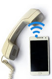 Wireless transfer from mobile phone to landline Royalty Free Stock Photo