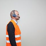 Wireless Voice Headset. Voice Picking Worker With Wireless Picking System Stock Image