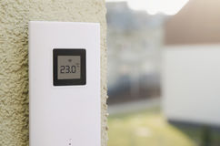 Wireless weather meter installed outdoor Stock Image