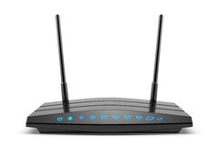 Wireless wi-fi black router with two antennas and blue indicator Royalty Free Stock Photo