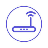 Wireless wi-fi router circular line icon. Round sign. High speed internet connection flat style vector symbol. Wireless wi-fi router circular line icon. Round Stock Photography