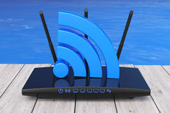 Wireless Wi-Fi Router in front of Ocean. 3d Rendering Stock Photos