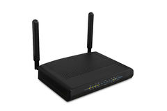 Wireless wi-fi router isolated white background, use clipping pa Royalty Free Stock Photography