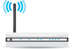 Wireless Wi-Fi router on white background. Vector illustration Stock Images