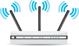 Wireless Wi-Fi router on white background Royalty Free Stock Photo