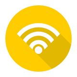 Wireless and wifi icon. Or sign set with long shadow, vector icon Royalty Free Stock Photography