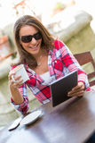 Wirelss Tablet Woman Stock Photos
