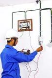Wireman during testing work Royalty Free Stock Images