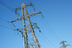 Wires. High-voltage line electrified  on background blue sky Royalty Free Stock Image