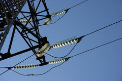 Wires. High-voltage line electrified  on background blue sky Stock Images