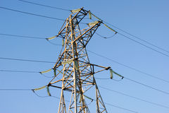 Wires. High-voltage line electrified  on background blue sky Royalty Free Stock Photo
