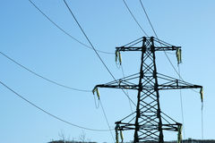 Wires. High-voltage line electrified  on background blue sky Royalty Free Stock Photography