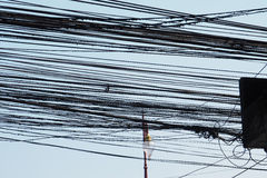 Wires background is blue sky Royalty Free Stock Image