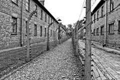 Wires and barraks in Auschwitz I Royalty Free Stock Photography