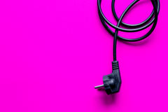Wires for charging on pink background top view Stock Photography