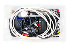 Wires and connectors for computer audio video in a box Stock Images