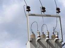 The wires on the electrical box in the sky stock image