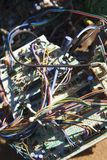 Wires and electrical components. Wires and old broken electrical car components Royalty Free Stock Photos