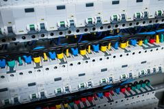 Wires in electrical panel in the box. Horizontal frame royalty free stock photography