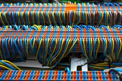 Wires in electrical panel. The wiring and machines in the electrical panel stock photos