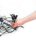 Wires in hand. A photo of different kind of wires in hand that surrounds us every day Stock Photo