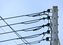 Electric pole on blue sky background royalty free stock photos