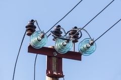 Wires and insulators for power lines Stock Images
