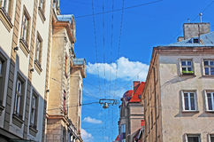 Wires and lantern in Lviv, Ukraine Stock Photography