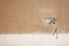 Wires Protruding From Plastered Wall Stock Photos