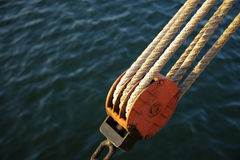 Wires, rope Detail, rigging of boat Royalty Free Stock Photo