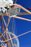 Wires, rope detail, rigging of boat Stock Photo