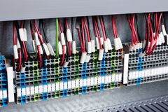 Wires to the control panel. Electrical wires to the control panel stock photography