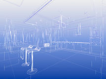 Wirewrame blue architecture. Abstract wireframe blue interior. Architectural render (3d-illustration Stock Image