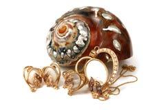 wirh перлы золота установленное Стоковые Фото