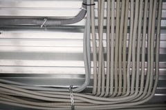 Wiring from the ceiling, Ceiling frame made of metal profile royalty free stock photo