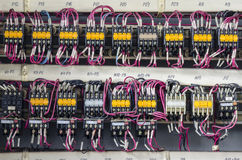 Wiring connection. A close-up of connecting the wires in the switchboard Royalty Free Stock Photos