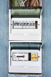 Wiring diagram of house electrical fuse box. Electrical safety in houses, panel of electrical distribution board with circuit breakers and energy meter. Home royalty free stock images