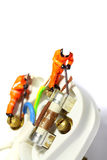 Wiring electric plug model workers C Royalty Free Stock Photo