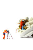 Wiring electric plug model workers D Stock Image