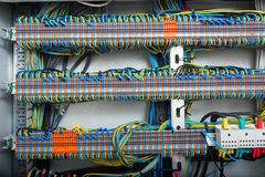 The wiring in the electrical panel. The wiring and machines in the electrical panel stock photo