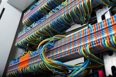 The wiring and machines. In the electrical panel royalty free stock photography