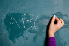 Wiriting letters on chalkboard Stock Photography