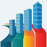 Wirklich-Zustand-Statistik-infographics-Haus-Büro-Gebäude Stockfotografie