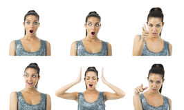Wirkliche Ausdrücke der jungen Frau des multi Bildes Stockfotos